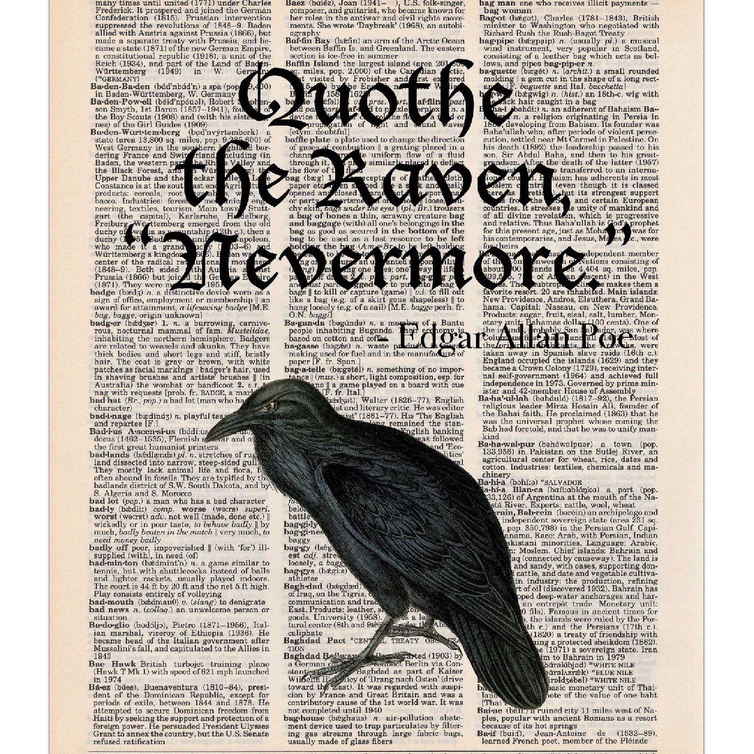 an examination of the symbolism and theme in the poem the raven by edgar allan poe The raven - study guide edgar allan poe's epic poem, the raven (1845) is popular with english teachers we hope this study guide is particularly helpful for students to more fully appreciate and enjoy poe's writing style and references to the occult or black magic.